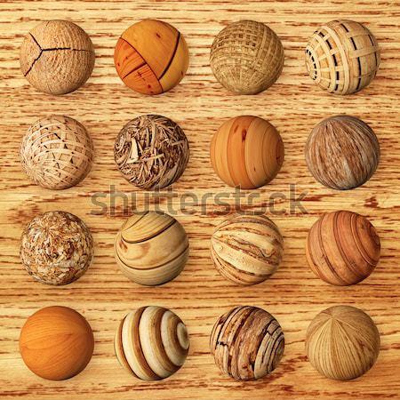Set of wooden balls against veneer Stock photo © pzaxe