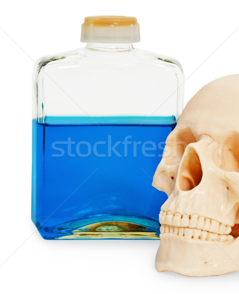 Still life - bottle of poison and human skull Stock photo © pzaxe
