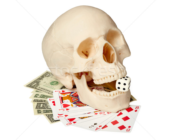 Human skull, playing cards and money Stock photo © pzaxe