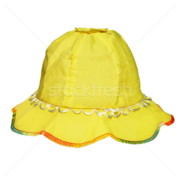 Yellow panama for a little girl on white Stock photo © pzaxe