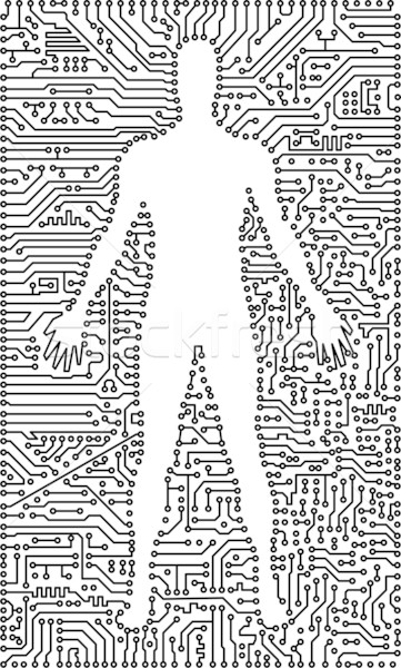 Silhouette of man in an electronic tech background Stock photo © pzaxe