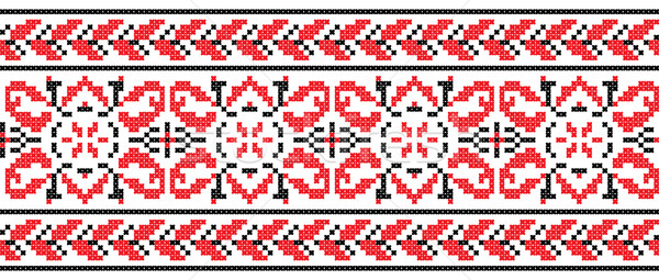 Ukrainian cross-stitch ornament - Vector Stock photo © pzaxe