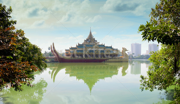 Replica of a Burmese Royal Barge on Kandawgyi Lake in Myanmar Stock photo © pzaxe