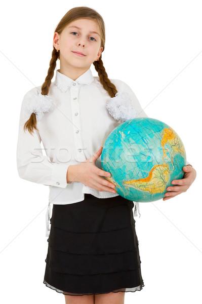 öğrenci dünya mavi beyaz gülümseme Stok fotoğraf © pzaxe
