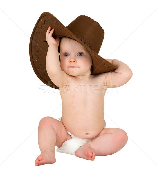 Baby bianco cappello da cowboy seduta bambino kid Foto d'archivio © pzaxe