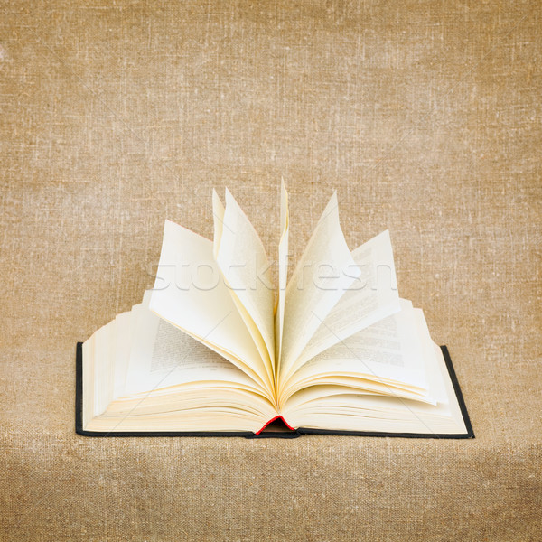 Open old book on brown canvas background Stock photo © pzaxe