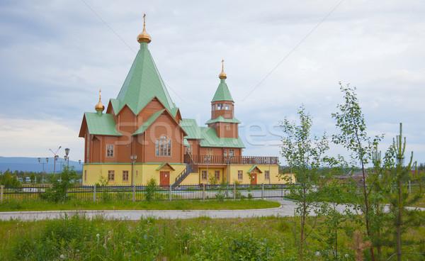 Modern fából készült ortodox keresztény templom arany Stock fotó © pzaxe