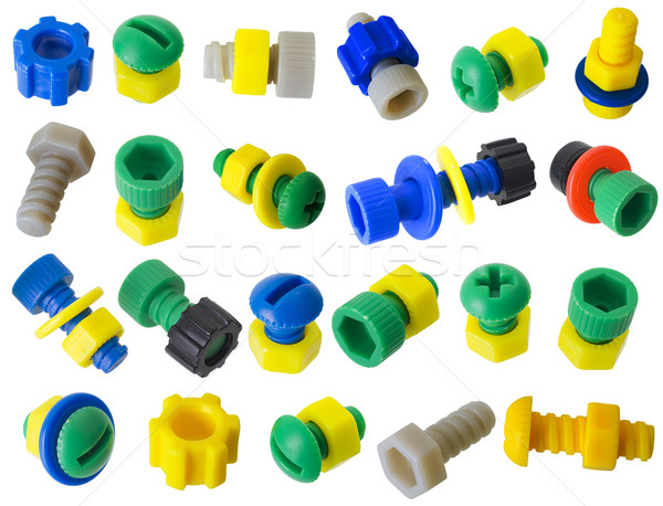 Stock photo: Toy plastic details - bolts, nuts, gears