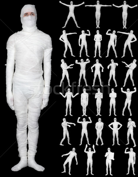 Collection of terrible bandaged mummies isolated on black backgr Stock photo © pzaxe