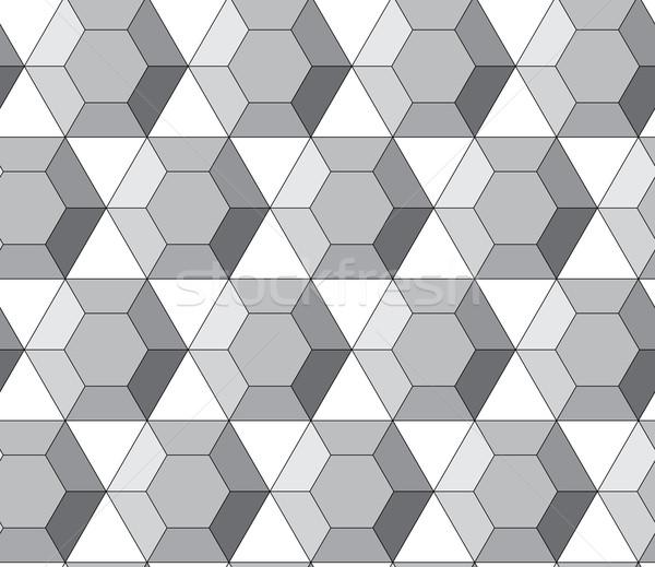 Simple geometric vector pattern - hexagonal diamonds Stock photo © pzaxe