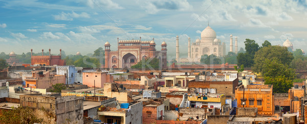Panorama of Agra city, India. Taj Mahal in the background Stock photo © pzaxe