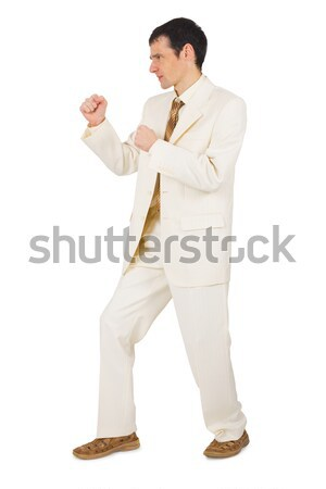 Young businessman in combat stance Stock photo © pzaxe