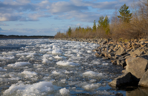 Landscape with river and ice Stock photo © pzaxe