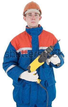 Boor helm witte hand man achtergrond Stockfoto © pzaxe