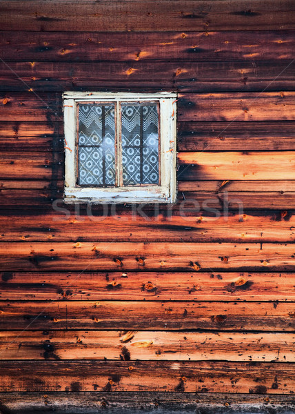 Window on square frame on wall old house - background Stock photo © pzaxe