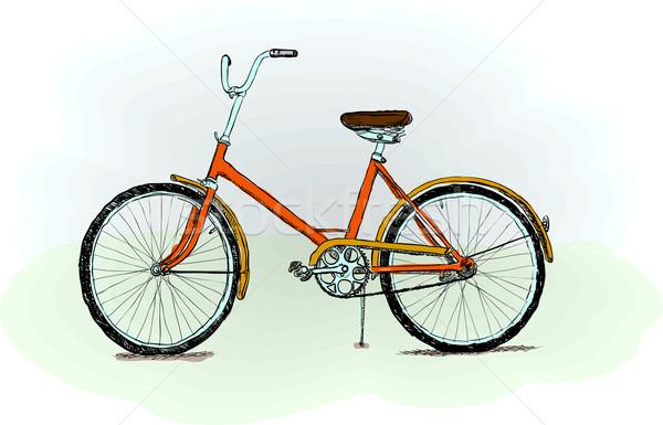Bicikli piros durva szín város sport Stock fotó © pzaxe