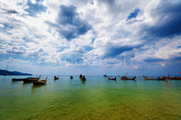 Thai traditional wooden boats in the lagoon Stock photo © pzaxe