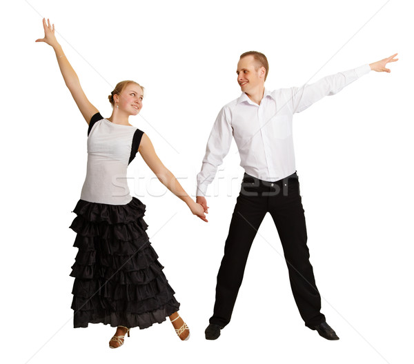 Młodych ludzi sala balowa dance odizolowany biały para Zdjęcia stock © pzaxe