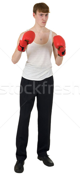 The thin boxer in gloves Stock photo © pzaxe