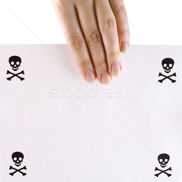 Sheet of papper on the hand Stock photo © pzaxe