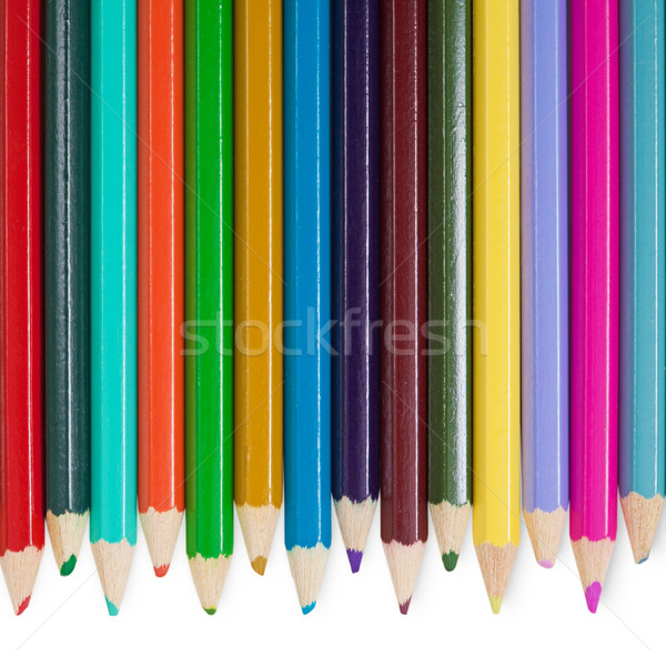 Fourteen color pencils on white background Stock photo © pzaxe
