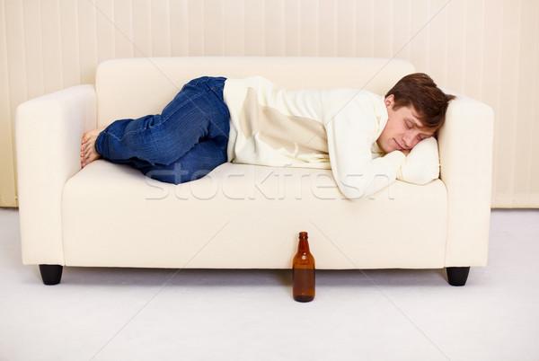 Pessoas confortável sofá bêbado cerveja mobiliário Foto stock © pzaxe