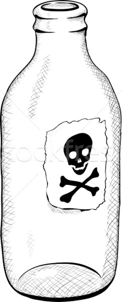 Botella símbolo muerte monocromo ilustración vidrio Foto stock © pzaxe