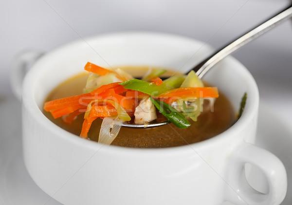 Brodo di pollo verdura cucchiaio bianco profondità piatto Foto d'archivio © pzaxe