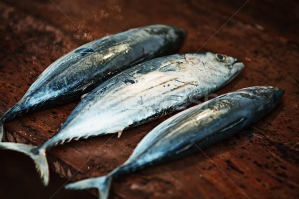 Nyers hal fából készült pult nyitva piac Stock fotó © pzaxe