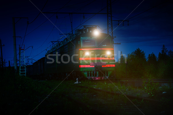 Electric Freight Train Approaching Polyarnye Zori, Russia, at Ni Stock photo © pzaxe