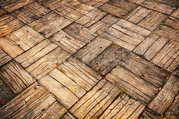 Weathered Parquet Style Decking at Oblique Angle Stock photo © pzaxe