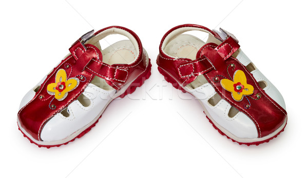Ucuz ayakkabı beyaz yalıtılmış çiçek arka plan Stok fotoğraf © pzaxe