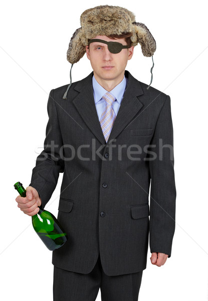 Funny man in fur hat with a bottle on a white background Stock photo © pzaxe