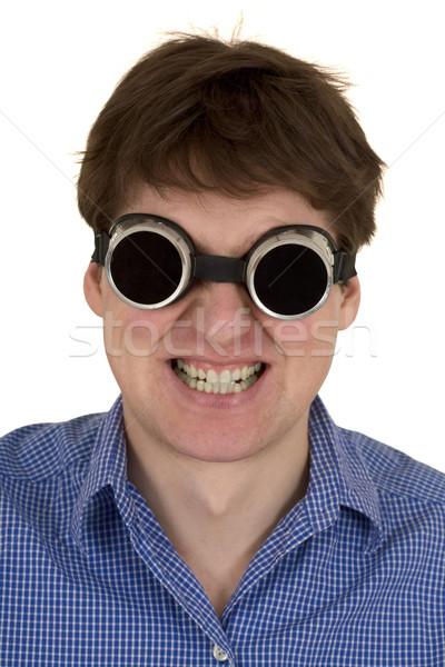 Homem soldagem óculos de proteção branco fundo retrato Foto stock © pzaxe