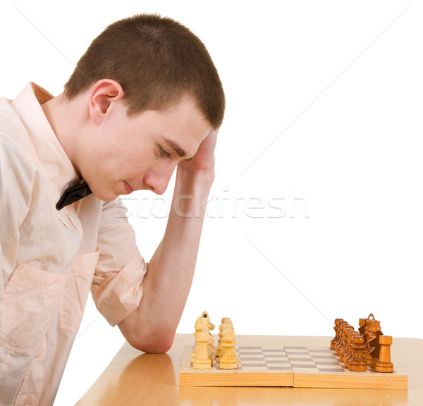 Meester denk schaakbord achtergrond schaken witte Stockfoto © pzaxe