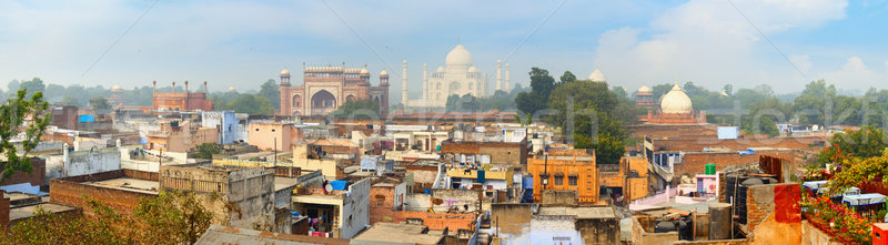 Panorama of the ancient Agra city. The famous mausoleum Taj Maha Stock photo © pzaxe