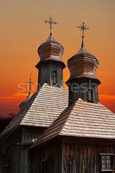 Vieux bois église ciel bâtiment Photo stock © pzaxe