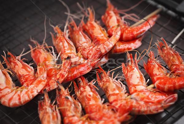 Grill fried prawns Stock photo © pzaxe