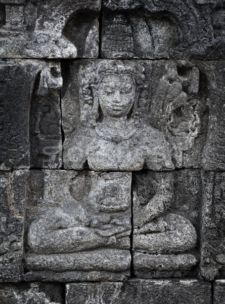 Stock photo: Medieval carving on wall of the Borobudur temple