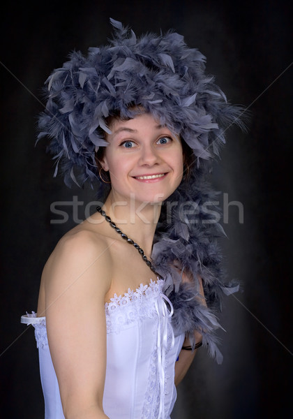 Portrait of thel girl with a boa Stock photo © pzaxe