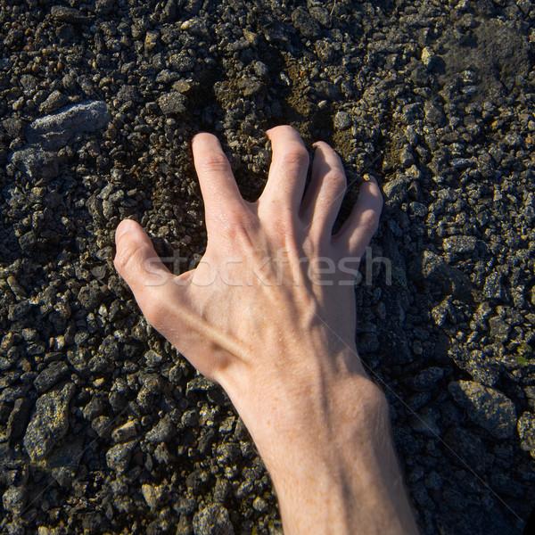 Hand clinging stony ground Stock photo © pzaxe