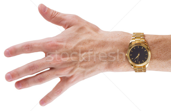Hand with watch on white Stock photo © pzaxe
