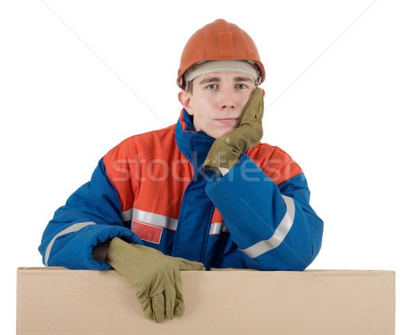 Segédmunkás doboz sisak fehér férfi munkás Stock fotó © pzaxe