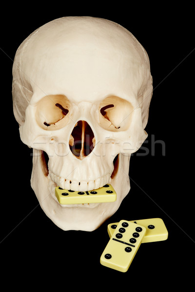 Skull eating dominoes Stock photo © pzaxe