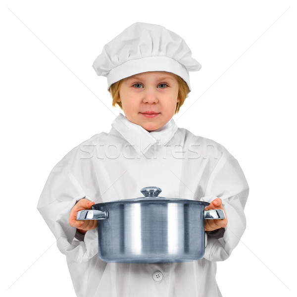 Young cook. Small girl in white suit with saucepan Stock photo © pzaxe