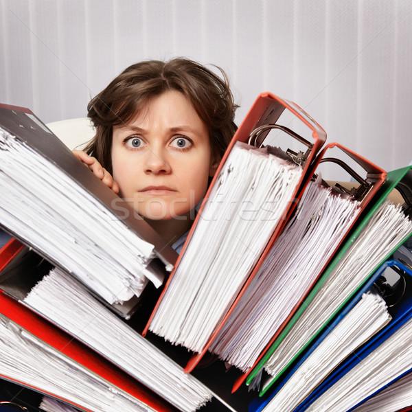 Accountant swamped with financial documents Stock photo © pzaxe