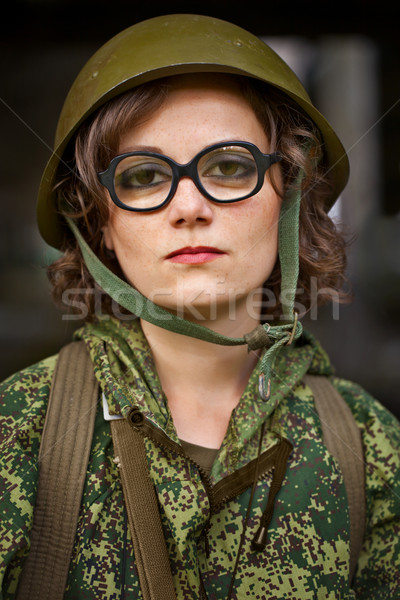 Woman in military uniform Stock photo © pzaxe