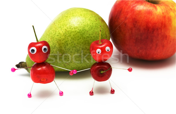 two amusing little men from a sweet cherry Stock photo © pzaxe