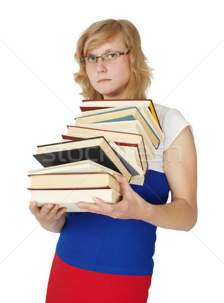 Stock fotó: Diák · tankönyvek · izolált · fehér · kezek · könyv