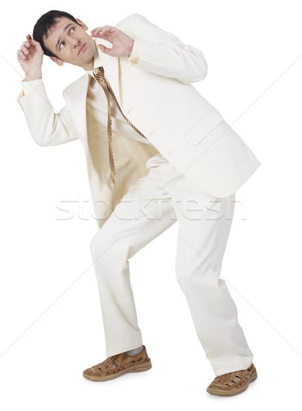 Félő üzletember izolált fehér háttér szín Stock fotó © pzaxe